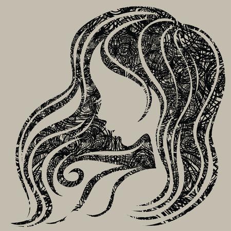 Vector grunge decorative donna vintage con bei capelli lunghi (dal mio Vettoriali