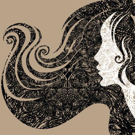 melancholy: Vector grunge Closeup decoratieve oldtimers vrouw met mooie lange draad (van mijn