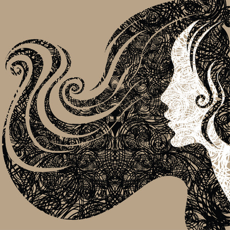 cabello largo y hermoso: Vector grunge Closeup decorativos vintage mujer hermosa con pelo largo (de mi