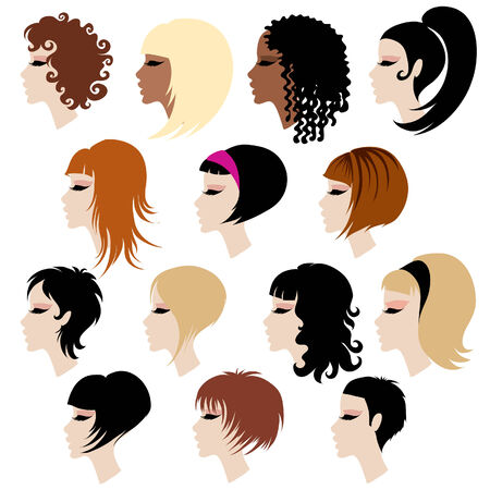 styling: Vector set of trendy hair styling for woman (from my big  Illustration