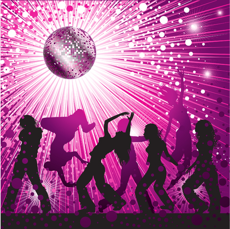 flashy: Vector background - pink CD Cover design with people, disco-ball and glitters