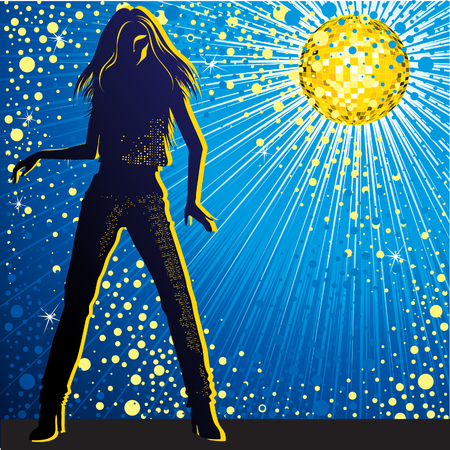 discoball: Vector background with girl dancing in night-club, disco-ball and glitters Illustration