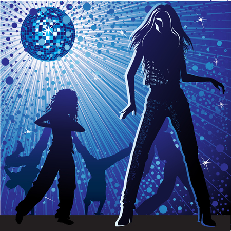 Vector background with people dancing in night-club, disco-ball and glitters Vector