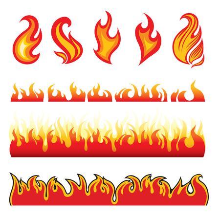 blazing: Set of hot fire design elements