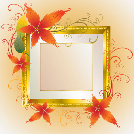 Vector gold frame with colorful Autumn Leafs. Thanksgiving (From my  Stock Vector - 5535917