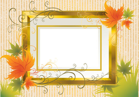 Vector gold frame with colorful Autumn Leafs. Thanksgiving (From my