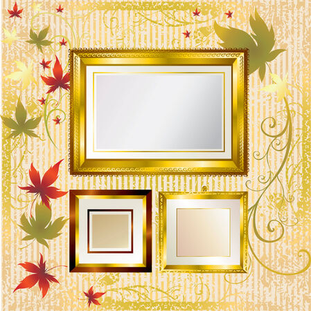autumn leafs:  Vector set of gold frames with colorful Autumn Leafs. Thanksgiving (From my  Illustration