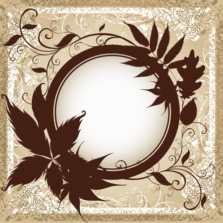 autumn leafs: Vector grunge background with frame with Autumn Leafs. Thanksgiving (From my  Illustration