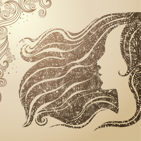 Vector grunge Closeup decorative vintage woman with beautiful long hair Vector