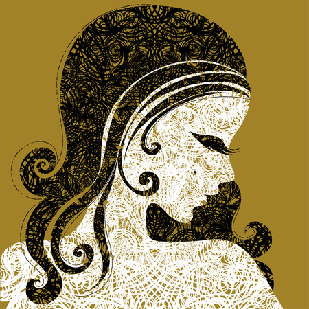 amative: Vector grunge Closeup decorative vintage woman with beautiful long hair