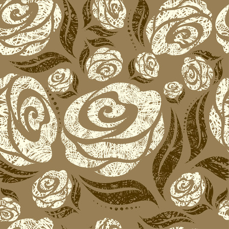 Seamless beige grunge rose pattern (From my big