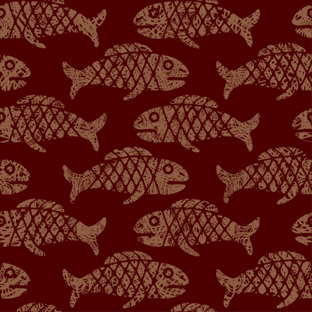 Seamless Mexican pattern with fish (from my  Vector