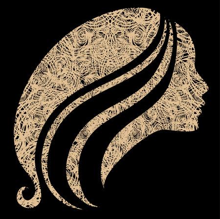 femme dessin: Vector grunge vintage Closeup d�coratifs femme avec de beaux cheveux longs
