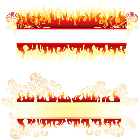 blazing: Vector frame background with fire (From my big