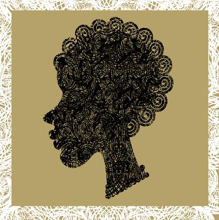african woman face: Grunge ritratto di una bella ragazza africana