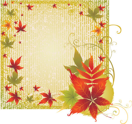 Grunge vector frame background with colorful Autumn Leafs. Thanksgiving (From my big Stock Vector - 5708389