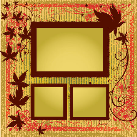 autumn leafs: Vector set of gold frames with colorful Autumn Leafs. Thanksgiving (From my