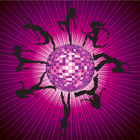 mirrorball: Vector background with people dancing on the disco-ball as a planet