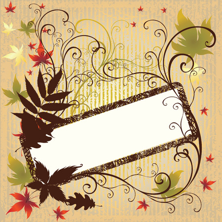 Grunge vector frame background with colorful Autumn Leafs. Thanksgiving (From my big Stock Vector - 5733174
