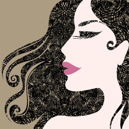 Closeup decorative vintage Halloween woman with beautiful hair Stock Vector - 5733160