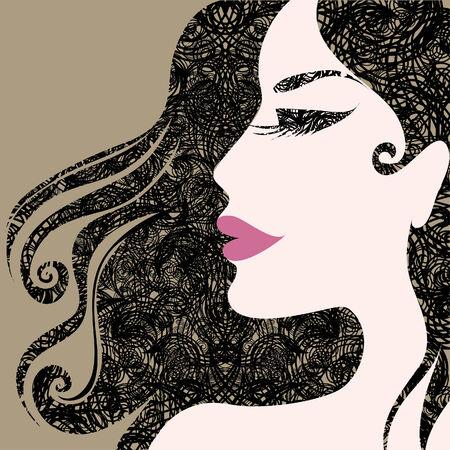 Closeup decorative vintage Halloween woman with beautiful hair Vector