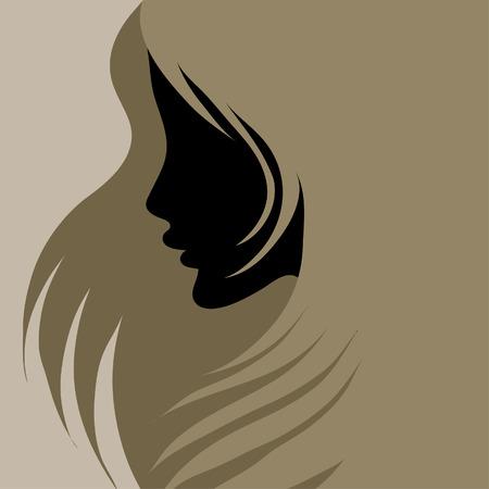 cabello largo y hermoso: Mujer de cosecha de detalle decorativa con hermoso pelo largo (de mi