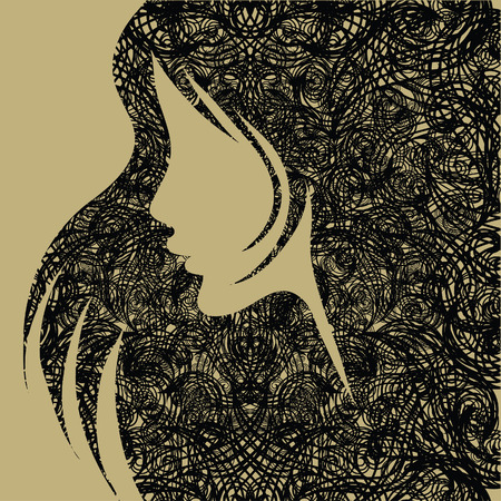 Closeup decorative grunge vintage woman with beautiful long hair (From my  Vector