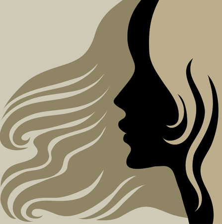 Closeup decorative vintage woman with beautiful long hair (From my Stock Vector - 5733134