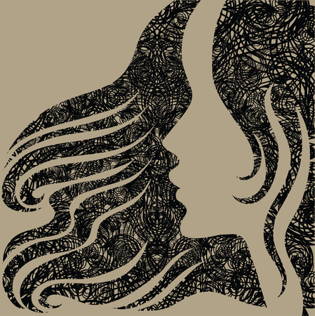 amative: Closeup decorative grunge vintage woman with beautiful long hair (From my  Illustration