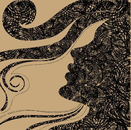 Closeup decorative vintage Halloween woman with beautiful hair Stock Vector - 5733170