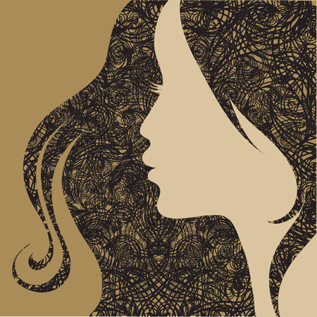 hairstyling: Mujer de grunge vintage decorativos de detalle de vector con cabello hermoso