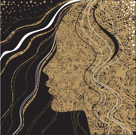 amative: Vector Closeup decorative vintage grunge woman with beautiful hair
