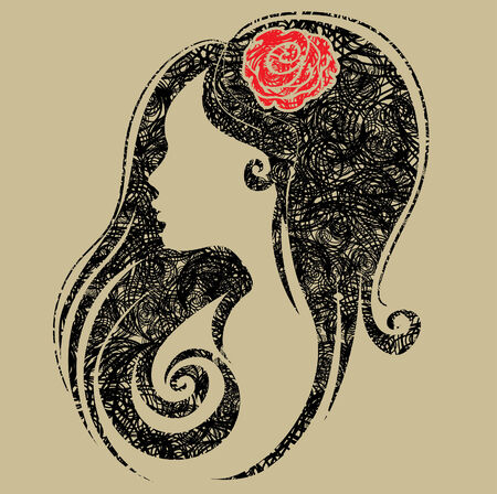 face silhouette: Decorative grunge portrait of woman with flower in the hair (From my big