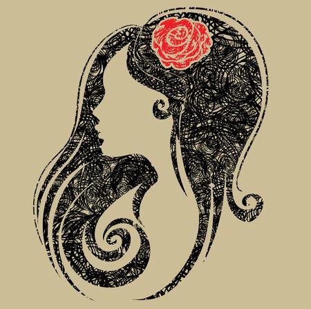 vintage grunge image: Ritratto grunge Decorative di donna con fiori nei capelli (From My Big