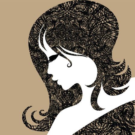 Closeup donna vintage decorative Halloween con i capelli belli Vettoriali