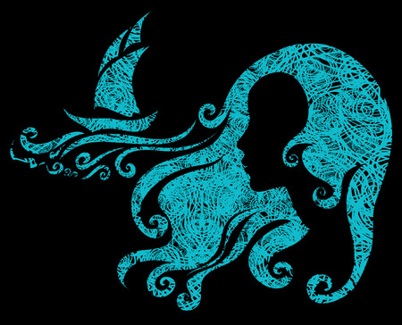 amative: Vector grunge illustration of woman looking at the sea