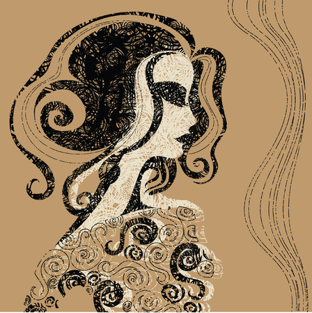 Closeup decorative vintage Halloween woman with beautiful hair Stock Vector - 5733178
