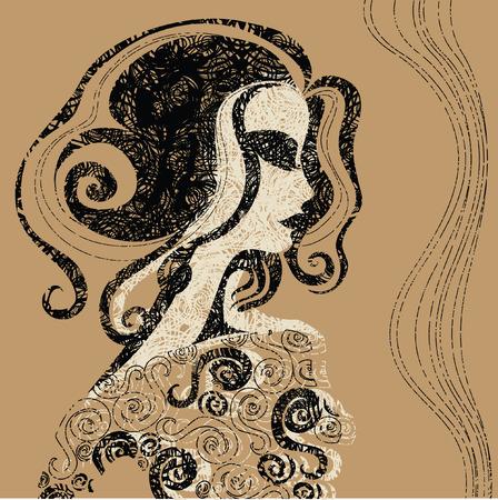 womanish: Closeup decorative vintage Halloween woman with beautiful hair