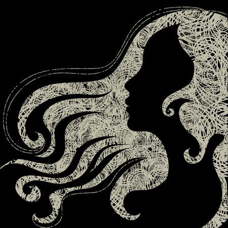 Close-up vector grunge decoratieve vintage Halloween vrouw met mooie haren  Vector Illustratie