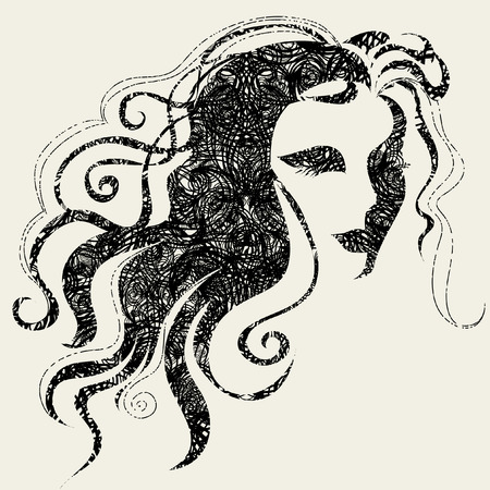 Closeup vector grunge decorative vintage Halloween woman with beautiful hair Stock Vector - 5733153