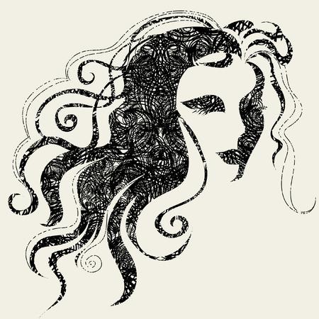 Closeup vector grunge decorative vintage Halloween woman with beautiful hair Vector