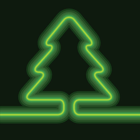 Vector decorative neon shining cute Christmas tree background.  Vector