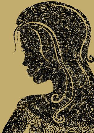 Closeup decorative vintage grunge woman with beautiful hair