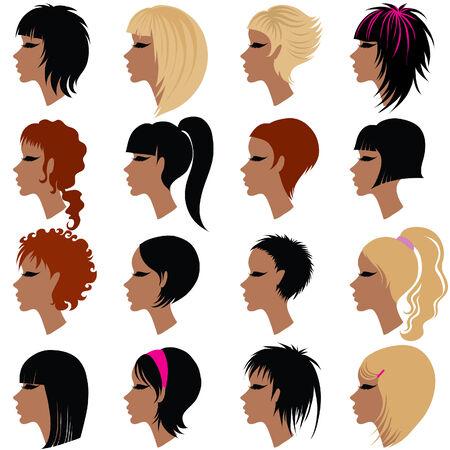 Vector serie de cortes de cabello de moda para la mujer (de mi gran Ilustración de vector