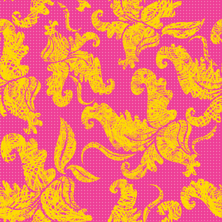 Seamless pink vintage grunge pattern with orchids (from my  Vector