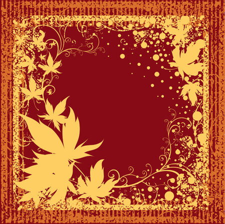 Grunge vector frame background with colorful Autumn Leafs. Thanksgiving (From my big Stock Vector - 5733168