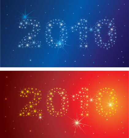 shining Christmas background with 2010 stars on the sky Vector