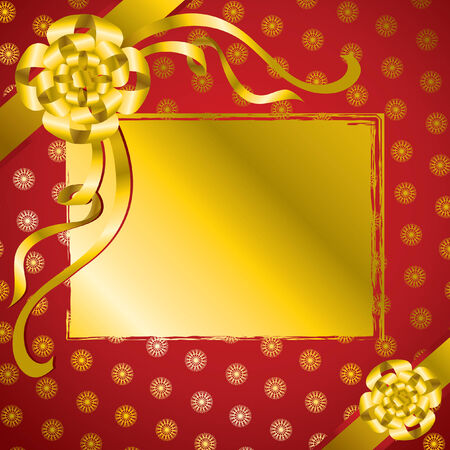 bowknot: decorative present background with gold bow and snowflakes pattern Illustration