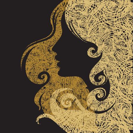 melancholy: Vector Closeup decoratieve vintage grunge vrouw met prachtig haar