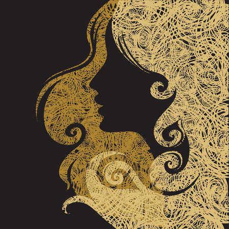 hairdress: Vector Closeup decorative vintage grunge woman with beautiful hair